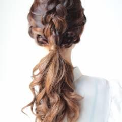 ヘアアレンジ ストリート ロング 編み込み ヘアスタイルや髪型の写真・画像