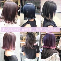 ミニボブ 切りっぱなしボブ ストリート 韓国風ヘアー ヘアスタイルや髪型の写真・画像
