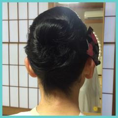 黒髪 着物 まとめ髪 セミロング ヘアスタイルや髪型の写真・画像