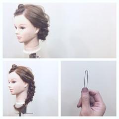 ヘアアレンジ フェミニン 三つ編み セミロング ヘアスタイルや髪型の写真・画像