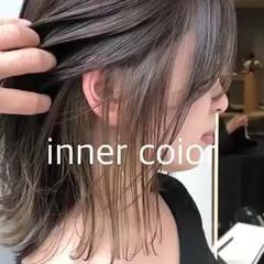 ミルクティーベージュ インナーカラー ミディアム 切りっぱなしボブ ヘアスタイルや髪型の写真・画像