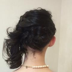 結婚式 編み込み ヘアアレンジ まとめ髪 ヘアスタイルや髪型の写真・画像
