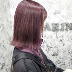 イルミナカラー ラベンダーピンク ハイライト ボブ ヘアスタイルや髪型の写真・画像