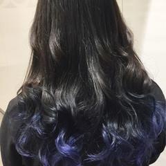 ストリート ブルー セミロング ダブルカラー ヘアスタイルや髪型の写真・画像