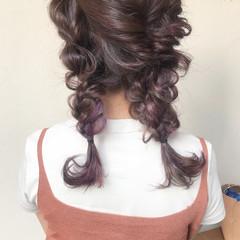 簡単ヘアアレンジ ガーリー アッシュグレー パープル ヘアスタイルや髪型の写真・画像