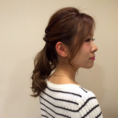 ナチュラル 編み込み ヘアアレンジ 簡単ヘアアレンジ ヘアスタイルや髪型の写真・画像