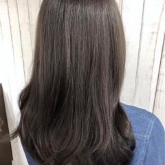 アッシュ ロング 暗髪 モード ヘアスタイルや髪型の写真・画像