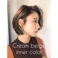 大人女子 ショート ボブ ナチュラル ヘアスタイルや髪型の写真・画像