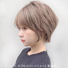 ナチュラル ショート ハイライト 透明感カラー ヘアスタイルや髪型の写真・画像