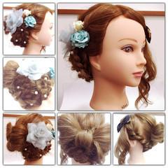 甘め 大人かわいい ねじり 三つ編み ヘアスタイルや髪型の写真・画像