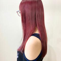 ピンクベージュ ベリーピンク ピンク ナチュラル ヘアスタイルや髪型の写真・画像