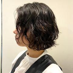 パーマ ボブ 時短ヘア パーマ ヘアスタイルや髪型の写真・画像