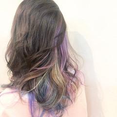 ハイライト バレイヤージュ グラデーションカラー ユニコーンカラー ヘアスタイルや髪型の写真・画像