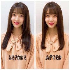 ロング うる艶カラー ナチュラル 艶髪 ヘアスタイルや髪型の写真・画像