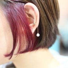 ピンク インナーカラー カラートリートメント ストリート ヘアスタイルや髪型の写真・画像