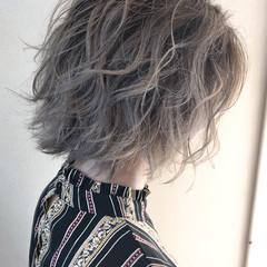 ラベンダーピンク ハイライト ラベンダーグレージュ ボブ ヘアスタイルや髪型の写真・画像