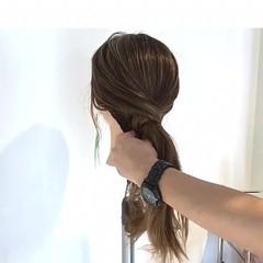 ヘアアレンジ アウトドア リラックス セミロング ヘアスタイルや髪型の写真・画像