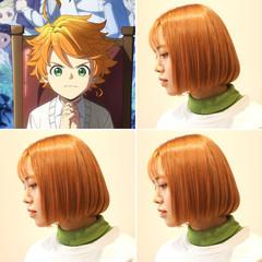ガーリー オレンジカラー オレンジベージュ アプリコットオレンジ ヘアスタイルや髪型の写真・画像