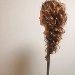 結婚式 フェミニン ヘアセット 編みおろしヘア ヘアスタイルや髪型の写真・画像