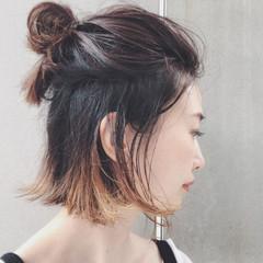 ハーフアップ ボブ 簡単ヘアアレンジ 外ハネ ヘアスタイルや髪型の写真・画像