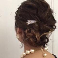 ミディアム パーティ 結婚式 ガーリー ヘアスタイルや髪型の写真・画像