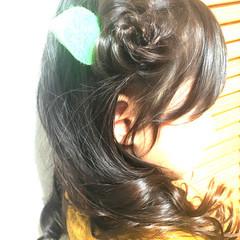 ヘアアレンジ セミロング キッズ 簡単ヘアアレンジ ヘアスタイルや髪型の写真・画像