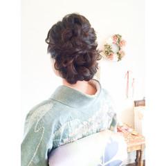 着物 黒髪 編み込み 大人かわいい ヘアスタイルや髪型の写真・画像