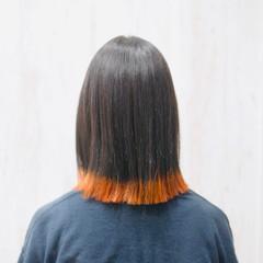 ボブ 裾カラー オレンジ アプリコットオレンジ ヘアスタイルや髪型の写真・画像