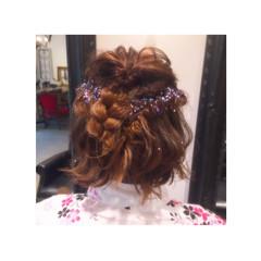 ヘアアレンジ 夏 波ウェーブ 編み込み ヘアスタイルや髪型の写真・画像