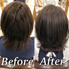 縮毛矯正 ミディアム 美髪 髪質改善トリートメント ヘアスタイルや髪型の写真・画像
