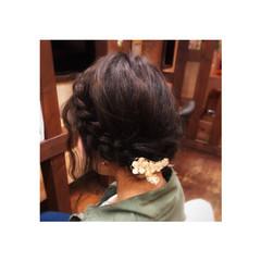 ヘアアレンジ オフィス 編み込み まとめ髪 ヘアスタイルや髪型の写真・画像