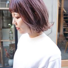 ラベンダーピンク 透明感カラー ボブ ショートボブ ヘアスタイルや髪型の写真・画像