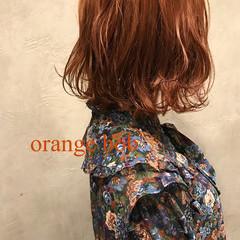 ストリート ブリーチ ボブ オレンジ ヘアスタイルや髪型の写真・画像