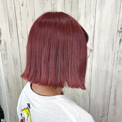 切りっぱなしボブ ペールピンク ナチュラル 暖色 ヘアスタイルや髪型の写真・画像