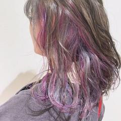 ロング ユニコーンカラー ミント フェミニン ヘアスタイルや髪型の写真・画像