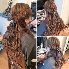 ハーフアップ ガーリー ゴージャス 編み込みヘア ヘアスタイルや髪型の写真・画像