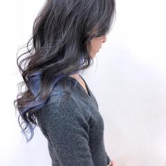 フェミニン ブルー アンニュイ パープル ヘアスタイルや髪型の写真・画像