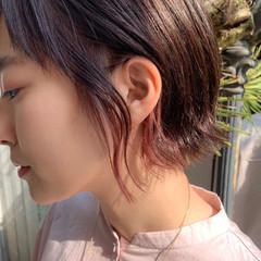 インナーカラー ボブ ショートボブ ピンク ヘアスタイルや髪型の写真・画像
