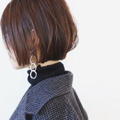 ハイライト ナチュラル ミニボブ ショートヘア ヘアスタイルや髪型の写真・画像