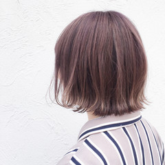 パープル ボブ ピンク ナチュラル ヘアスタイルや髪型の写真・画像