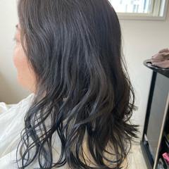 透明感カラー イルミナカラー セミロング 青紫 ヘアスタイルや髪型の写真・画像