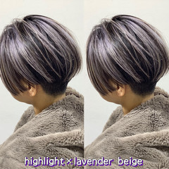 ストリート ラベンダーグレージュ ショート ホワイトベージュ ヘアスタイルや髪型の写真・画像