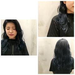 ストリート 暗髪 グラデーションカラー ネイビー ヘアスタイルや髪型の写真・画像