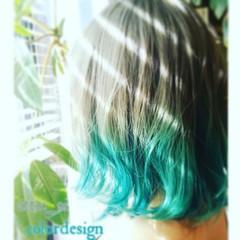 グラデーションカラー ストリート アッシュ グリーン ヘアスタイルや髪型の写真・画像