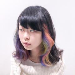 ブリーチ ブリーチオンカラー ブリーチカラー セミロング ヘアスタイルや髪型の写真・画像