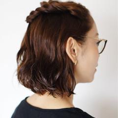 ねじり 大人女子 ヘアアレンジ ハーフアップ ヘアスタイルや髪型の写真・画像