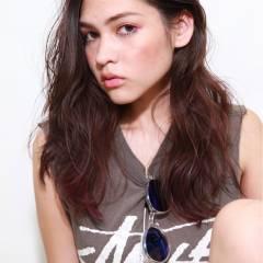 グラデーションカラー セミロング 外国人風 ウェットヘア ヘアスタイルや髪型の写真・画像