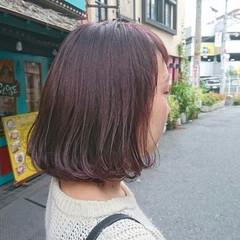 ピンク ベージュ ラベンダーピンク ボブ ヘアスタイルや髪型の写真・画像