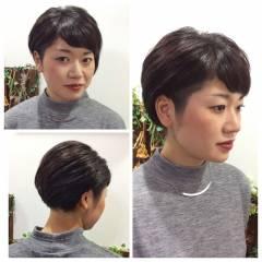 ショート 刈り上げ 大人かわいい 黒髪 ヘアスタイルや髪型の写真・画像