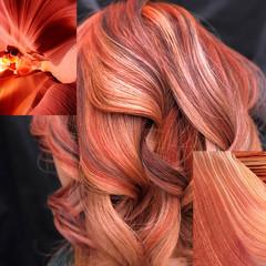 ハイトーン モード オレンジ ミディアム ヘアスタイルや髪型の写真・画像